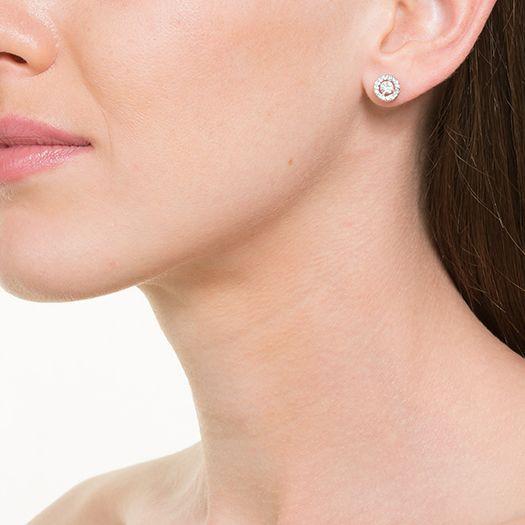 Boucles d'oreilles blanche Tara dorée à l'or fin et CRISTAUX DE SWAROVSKI ®
