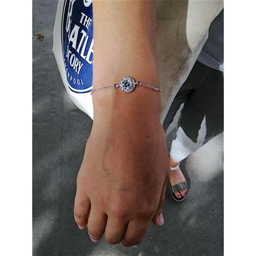 Bracelet blanc Sultana dorée à l'or fin et CRISTAUX DE SWAROVSKI ®