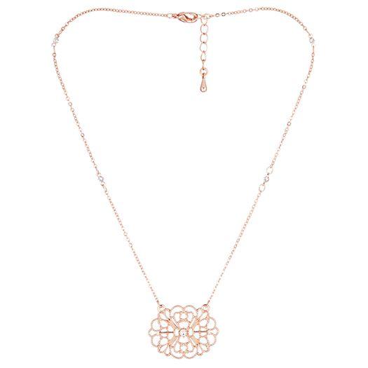 Collier Thaia rose dorée à l'or fin et CRISTAUX DE SWAROVSKI ®
