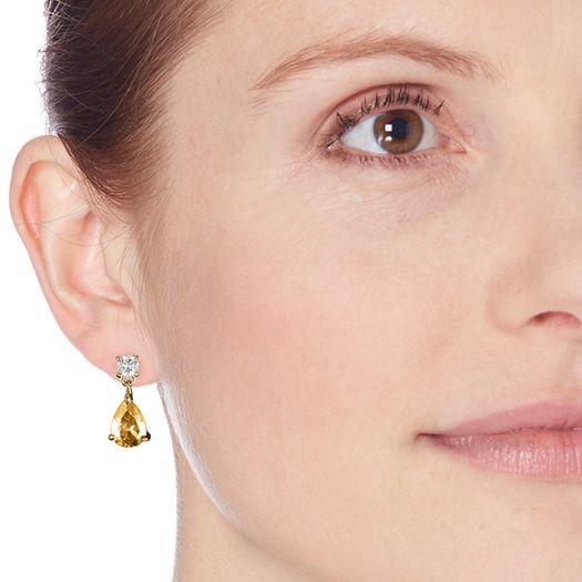 Boucles d'oreilles Yellow blanche dorée à l'or fin et CRISTAUX DE SWAROVSKI ®