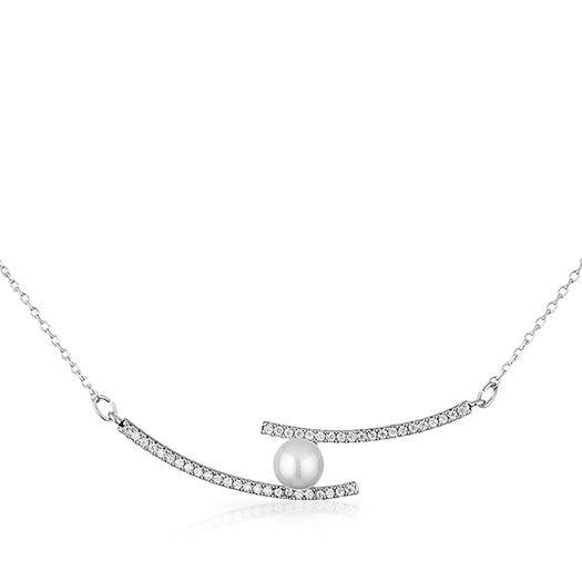 Collier blanc et perle dorée à l'or fin et CRISTAUX DE SWAROVSKI ®