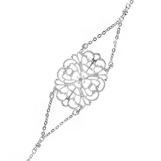 Bracelet blanc Alycia dorée à l'or fin et CRISTAUX DE SWAROVSKI ®